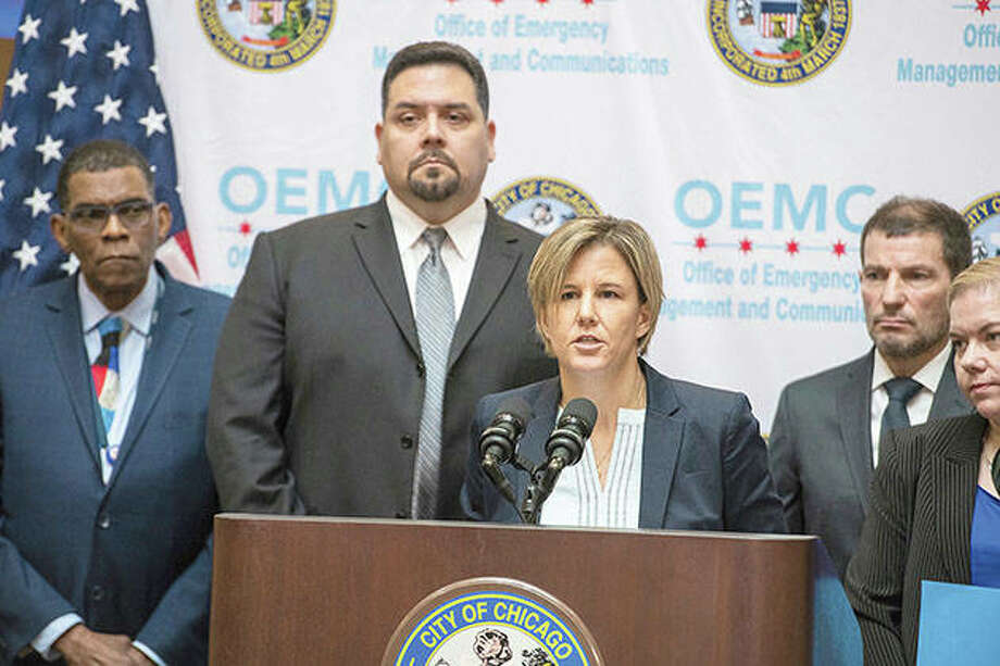 Dr. Jennifer Layden, chief medical officer of the Illinois Department of Public Health, speaks Friday about an Illinois woman who has become the second U.S. patient diagnosed with a dangerous new virus from China. Photo: Tyler LaRiviere | Chicago Sun-Times (AP)