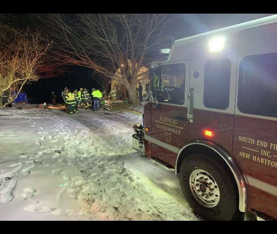 Multiple fire departments responded to a fire at East Cotton Hill Road in New Hartford, Conn. on Jan 24, 2020, quickly bringing the blaze under control. Photo: Courtesy Of South End Fire Department