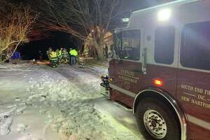 Multiple fire departments responded to a fire at East Cotton Hill Road in New Hartford, Conn. on Jan 24, 2020, quickly bringing the blaze under control.