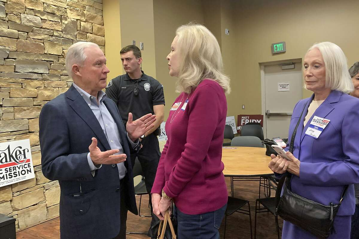 In this Jan. 11, 2020 photo, former U.S. Attorney General Jeff Sessions speaks to supporters at the Mid Alabama Republican Club in Vestavia Hills, Ala.. Sessions is stressing his loyalty to President Donald Trump as he seeks to regain the Alabama Senate seat he held for 20 years. (AP Photo/Kim Chandler)