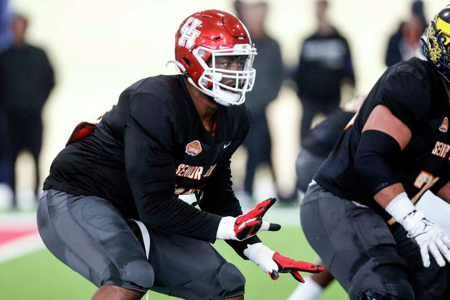 North offensive tackle Josh Jones of Houston (70) participates in drills as the North squad practices for the Senior Bowl Thursday, Jan. 23, 2020, in Mobile, Ala. (AP Photo/Butch Dill) Photo: Butch Dill, Associated Press / Copyright 2020The Associated Press. All rights reserved.