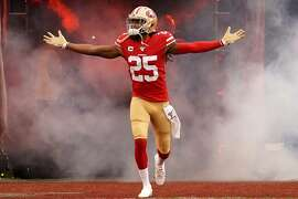 Richard Sherman of the San Francisco 49ers runs onto the field prior to the start of the NFC Championship game against the Green Bay Packers at Levi's Stadium in Santa Clara, Calif., on January 19, 2020. (Thearon W. Henderson/Getty Images/TNS)