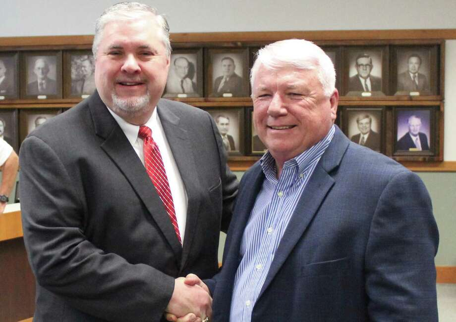 Cleveland ISD named Chris Trotter (left) the new superintendent and will take over for current superintendent Darrell Myers (right), who will retire at the end of the school year. Photo: Marcus Gutierrez/staff Photo