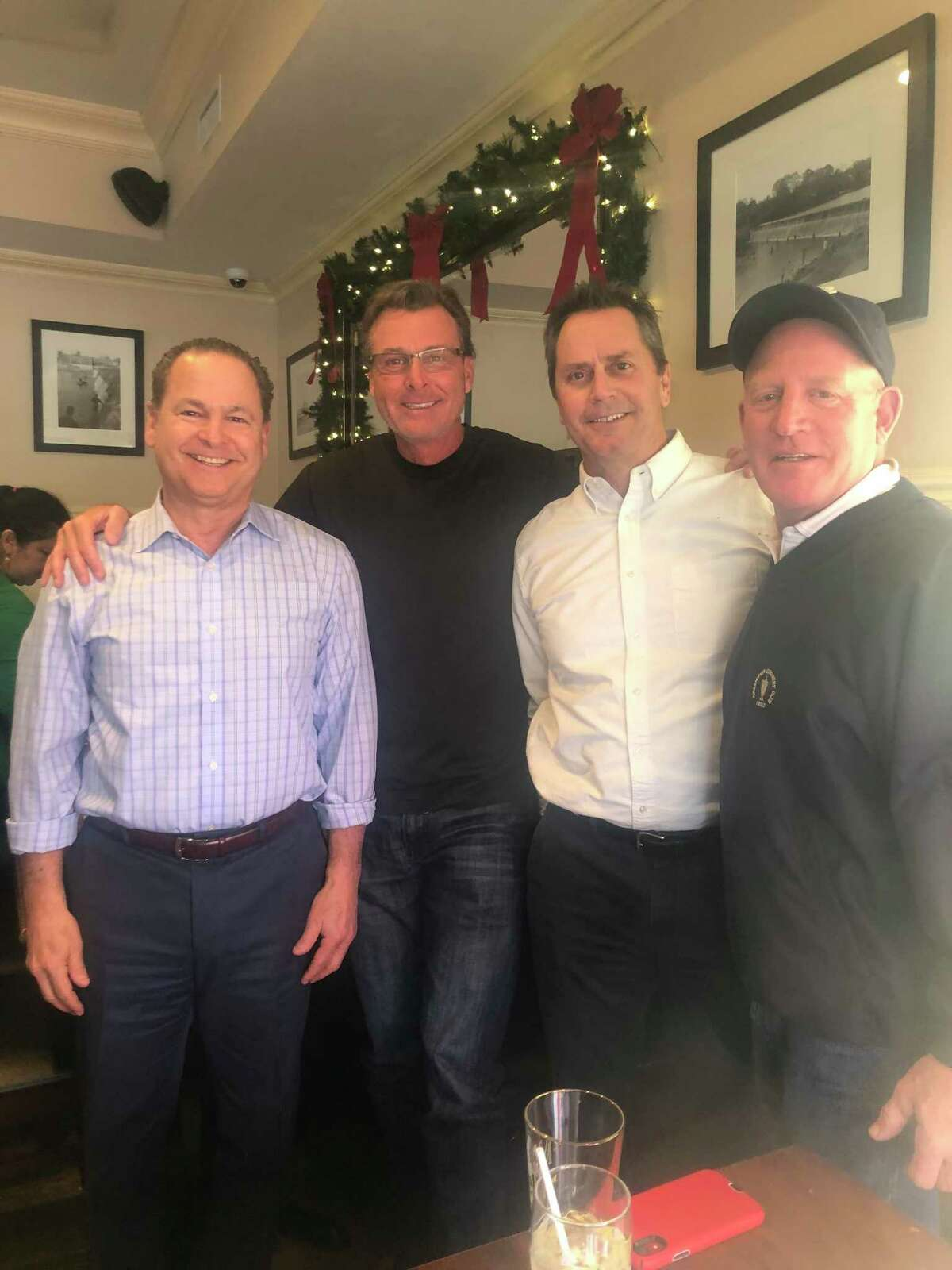 Former New York Mets champion Tim Teufel (second from left) with his friends Steve Gordon (left), Jim Kavanagh and Casey O'Brien at Caren's Cos Cobber in Greenwich last week.