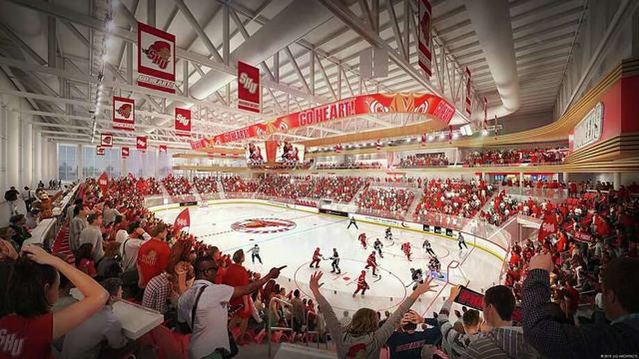 Artist rendering of Sacred Heart's new nearly 4,000-capacity, $60 million hockey and skating arena on its West Campus in Fairfield. It is expected to open in 2022. Photo: Sacred Heart University / Twitter
