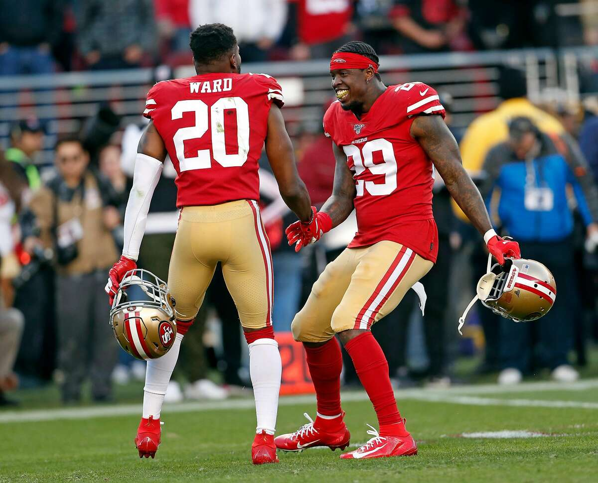 San Francisco 49ers' Jaquiski Tartt and Jimmie Ward react in final minute of Niners' 27-10 win over Minnesota Vikings in NFC Divisional playoff game at Levi's Stadium in Santa Clara, Calif., on Saturday, January 11, 2020.
