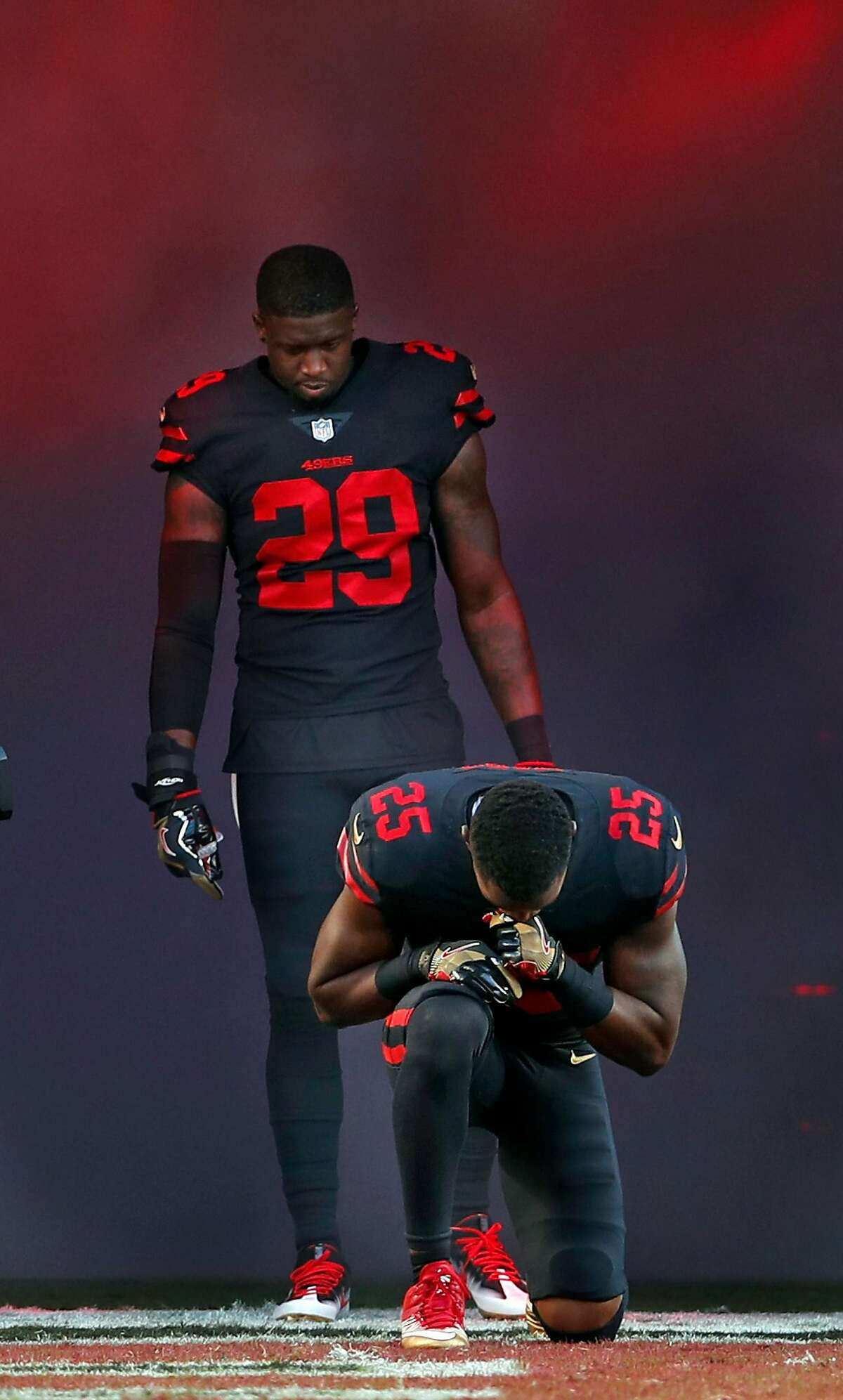 San Francisco 49ers' Jimmie Ward (25) and Jaquiski Tartt (29) are introduced before playing Los Angeles Rams' during NFL game at Levi's Stadium in Santa Clara, Calif., on Thursday, September 21, 2017.