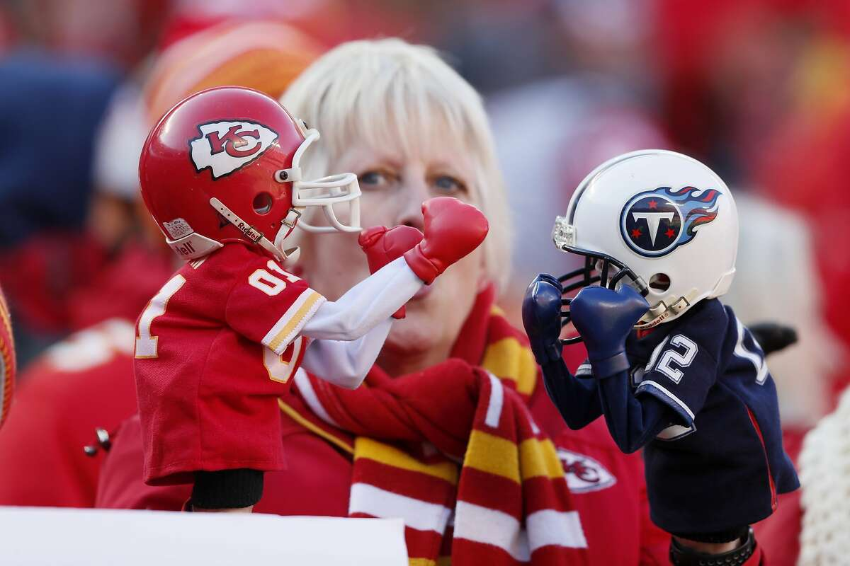 A fan before the NFL AFC Championship football game between the Kansas City Chiefs and the Tennessee Titans Sunday, Jan. 19, 2020, in Kansas City, MO. (AP Photo/Charlie Neibergall)