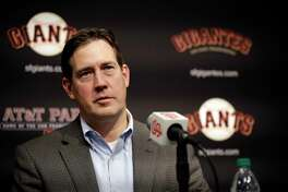 San Francisco Giants general manager Bobby Evans during a press conference announcing new team member Evan Longoria Friday, Jan. 19, 2018, in San Francisco.
