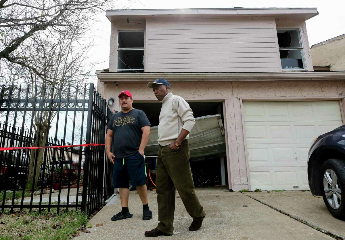 Mayor Sylvester Turner visited Stanford Court, where many homes were heavily damaged during the explosion at Watson Grinding and Manufacturing, on Saturday, Jan. 25, 2020, in Houston.