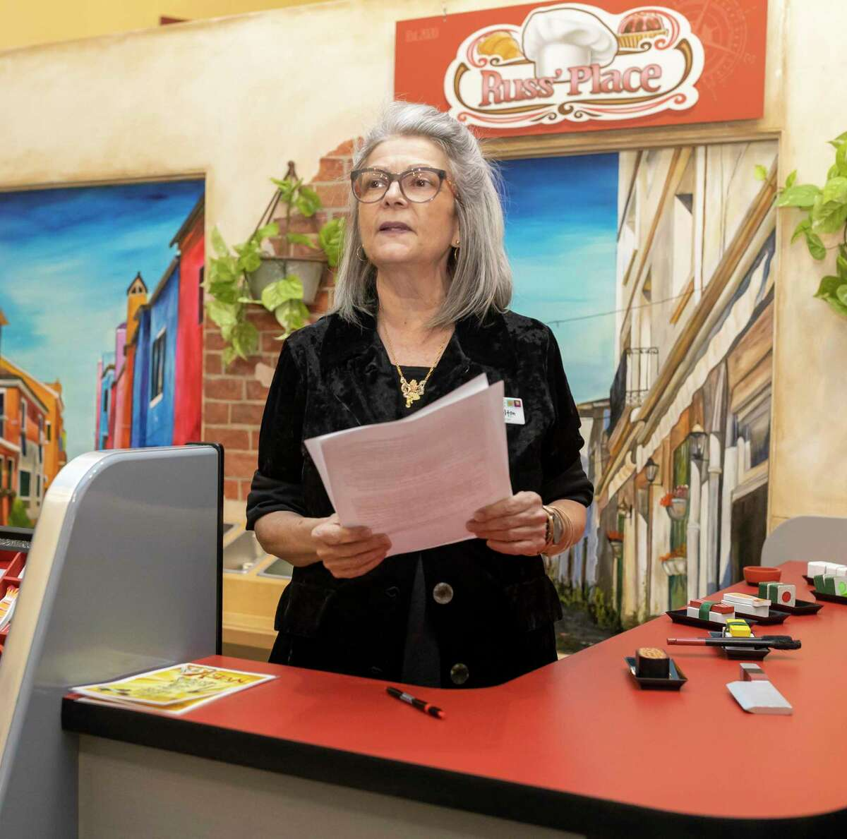 Executive Director Angela Colton, unveils a new permanent exhibit at the Children's Museum in the Woodlands, on Saturday, Jan. 25, 2020. The exhibit called Russ' Place will feature foods from all around the world.