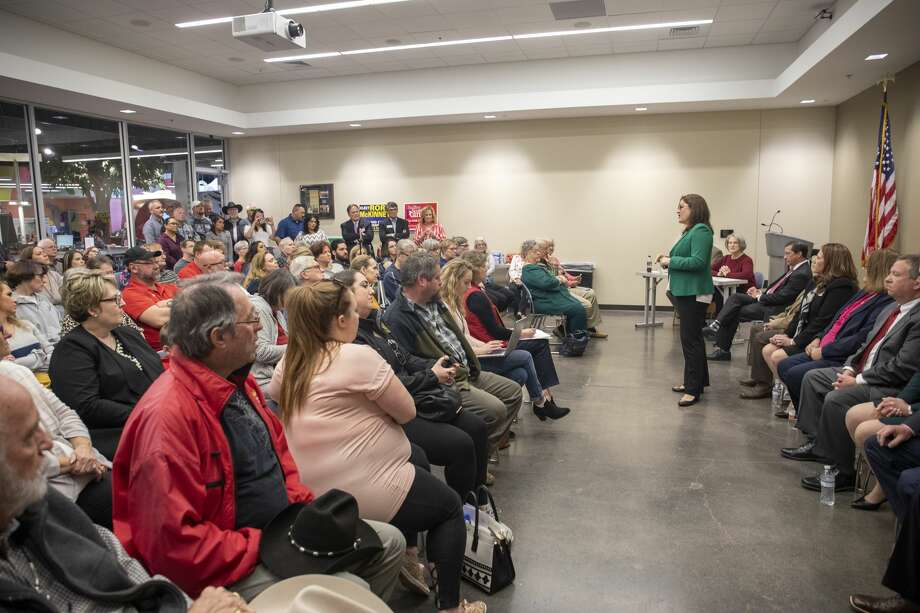 Mary Baker, who is running for Judge of the 142nd District Court, speaks Saturday, Jan. 25, 2020 during a candidate forum at the Centennial Library. Jacy Lewis/Reporter-Telegram Photo: Jacy Lewis/Reporter-Telegram