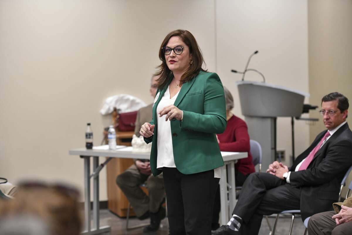 Mary Baker, who is running for Judge of the 142nd District Court, speaks Saturday, Jan. 25, 2020 during a candidate forum at the Centennial Library. Jacy Lewis/Reporter-Telegram