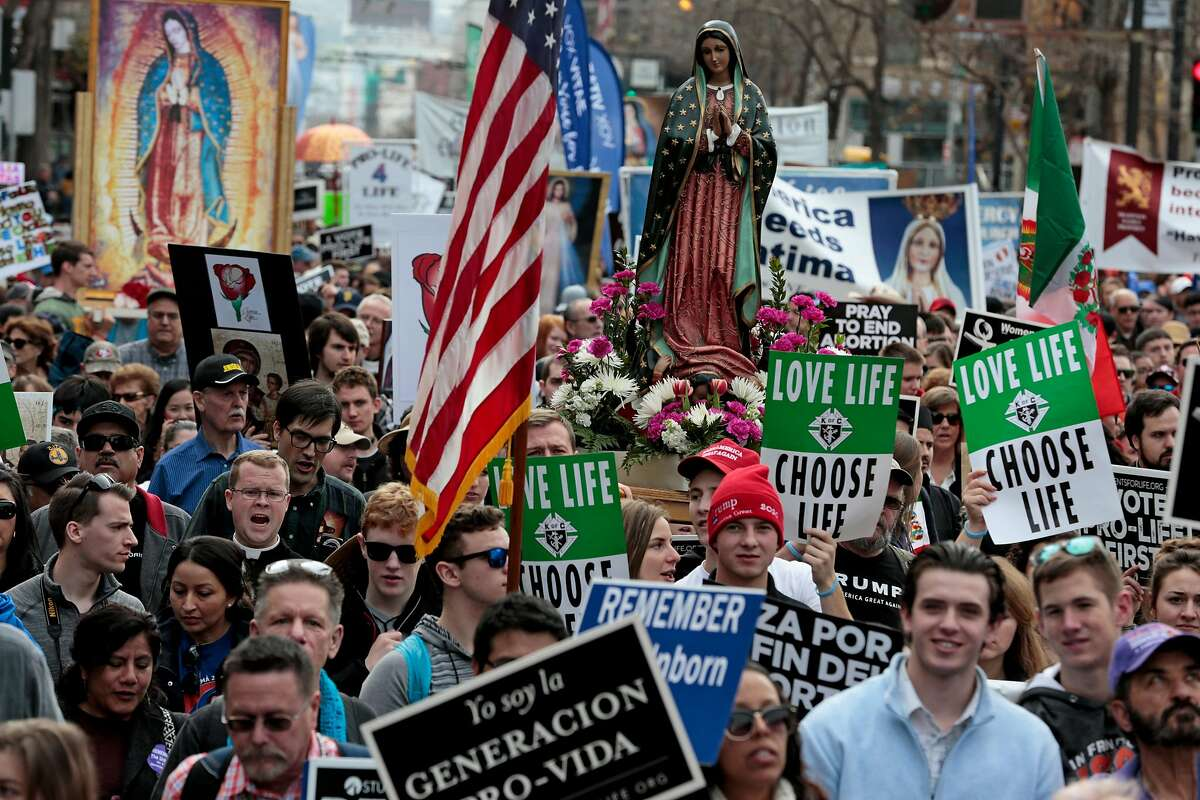 Demonstrators during the March for Life, Saturday, Jan. 25, 2020, in San Francisco, Calif. Demonstrators marched along Market Street from the Civic Center Plaza to protest abortion.