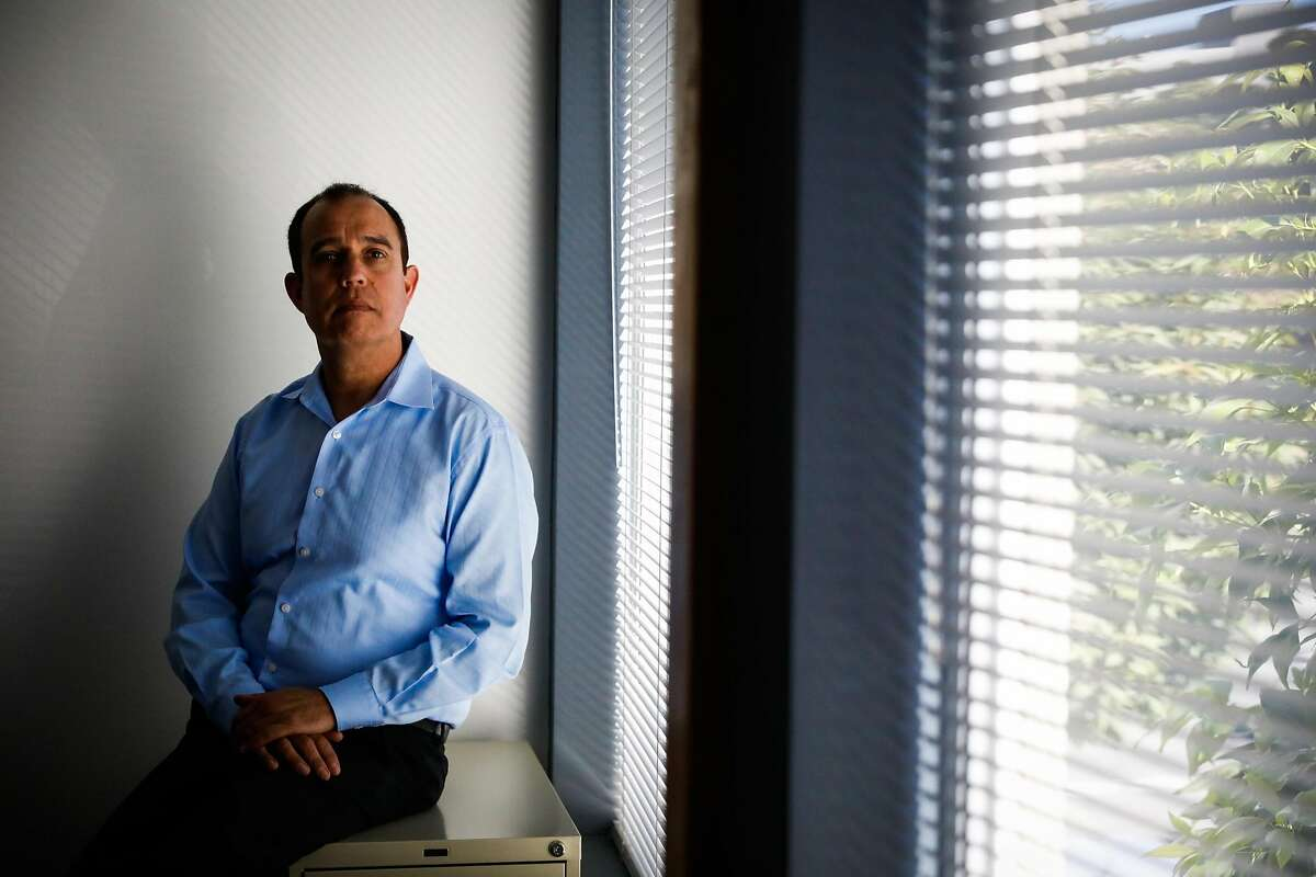 Tony Montoya, the President of the Police Union, sits for a portrait at his office in San Francisco, California, on Wednesday, Oct. 24, 2018. He was diagnosed with a brain tumor eight years after working at the former Hunters Point Naval Shipyard where there was contaminated soil.