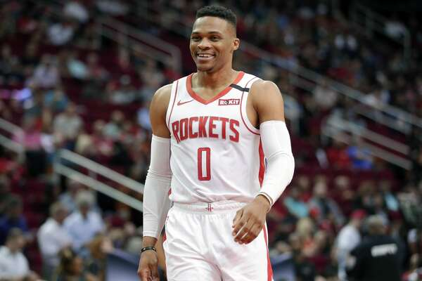 Houston Rockets guard Russell Westbrook (0) during the first half of an NBA basketball game Wednesday, Jan. 15, 2020, in Houston. (AP Photo/Michael Wyke)