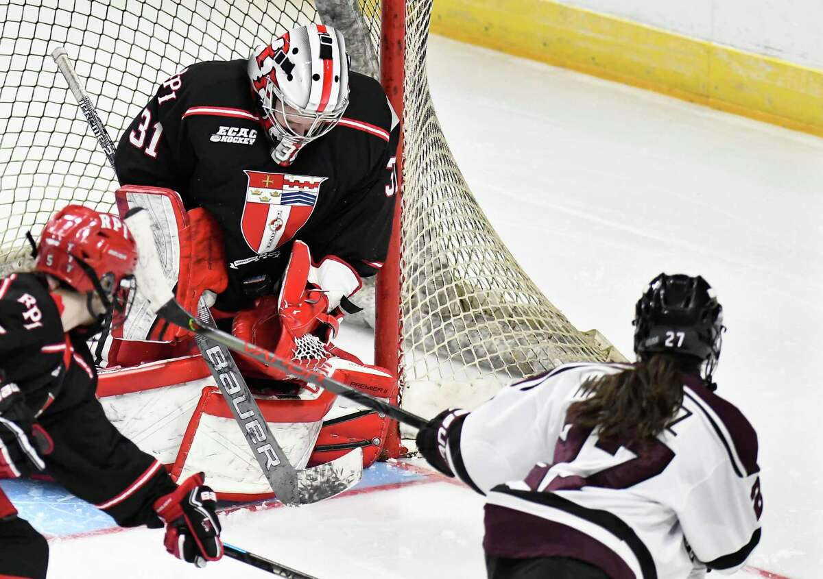 RPI goaltender Amanda Rampado, shown above in a loss to Union on Jan. 25, 2020, helped the Engineers beat the Dutchwomen 4-0 on Oct. 8, 2021 to break a 31-game losing streak. (Hans Pennink /Special to the Times Union)