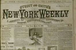 An image from whata€™s one of the oldest items in the Times Union newsroom is this 1883 front page from Street and Smitha€™s New York Weekly, a€œA journal of useful knowledge, romance, amusement, etc.a€ The byline of Ned Buntline is a pseudonym for writer Edward Zane Carroll Judson Sr., famed writer and publisher, who died in 1886. (Tim Blydenburgh / TImes Union)