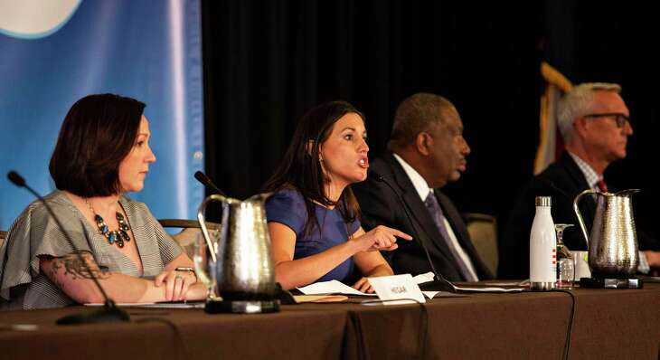 Candidate Cristina Tzintzun Ramirez speaks to the crowd during the senate labor debate held during the COPE 2020 meeting of the Texas AFL-CIO at the Omni Austin Hotel at Southpark on January 25, 2020 in Austin, Texas.