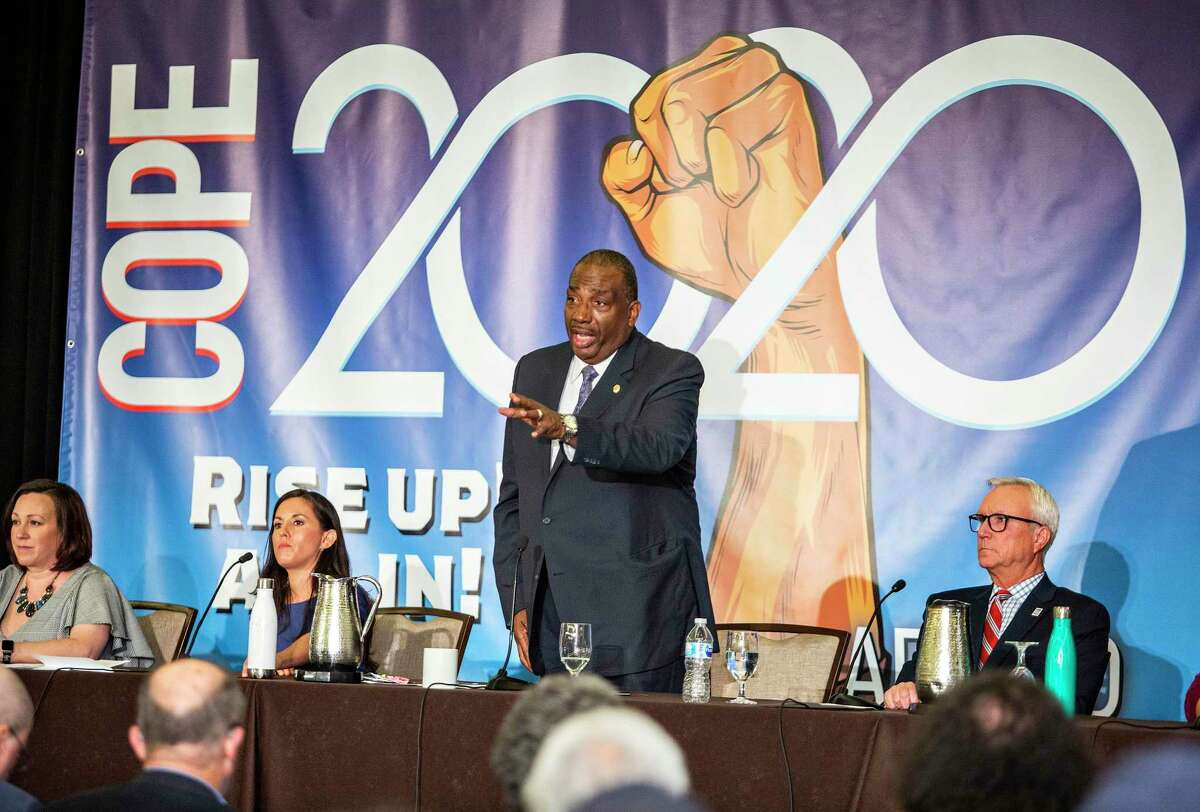 Candidate Royce West, a Texas Senator, addresses the crowd during the senate labor debate held during the COPE 2020 meeting of the Texas AFL-CIO at the Omni Austin Hotel at Southpark on January 25, 2020 in Austin, Texas.