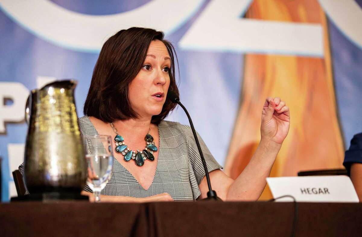 Candidate MJ Hegar speaks to the crowd during the senate labor debate held during the COPE 2020 meeting of the Texas AFL-CIO at the Omni Austin Hotel at Southpark on January 25, 2020 in Austin, Texas.