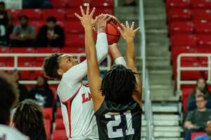 Briana Laidler (4) puts up a shot in the first half as the Lady Cardinals came up short in a close one with the Lady Jacks of Stephen F. Austin on January 25, 2020. Fran Ruchalski/The Enterprise