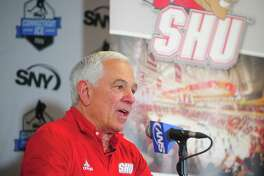 """Sacred Heart AD Bobby Valentine speaks during a news conference Jan. 25. The Stamford native says a commitment to """"justice for all"""" prompted him to join a march Wednesday protesting the death of George Floyd."""