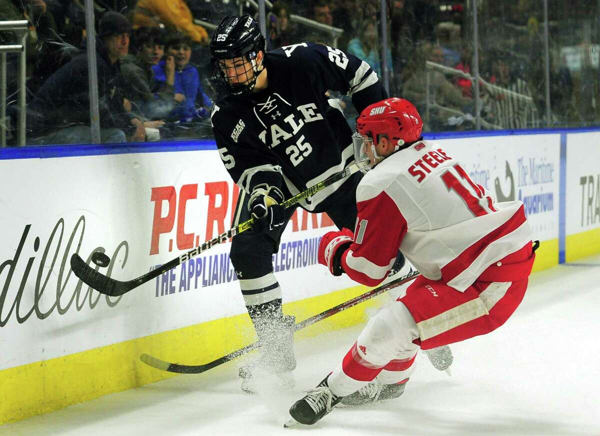 Yale's Phil Kemp passes the puck as Sacred Heart University's Ryan Steele converges during the Connecticut Ice Tournament at the Webster Bank Arena in Bridgeport in January. Yale has paused workouts after positive tests by members of the men's hockey program.