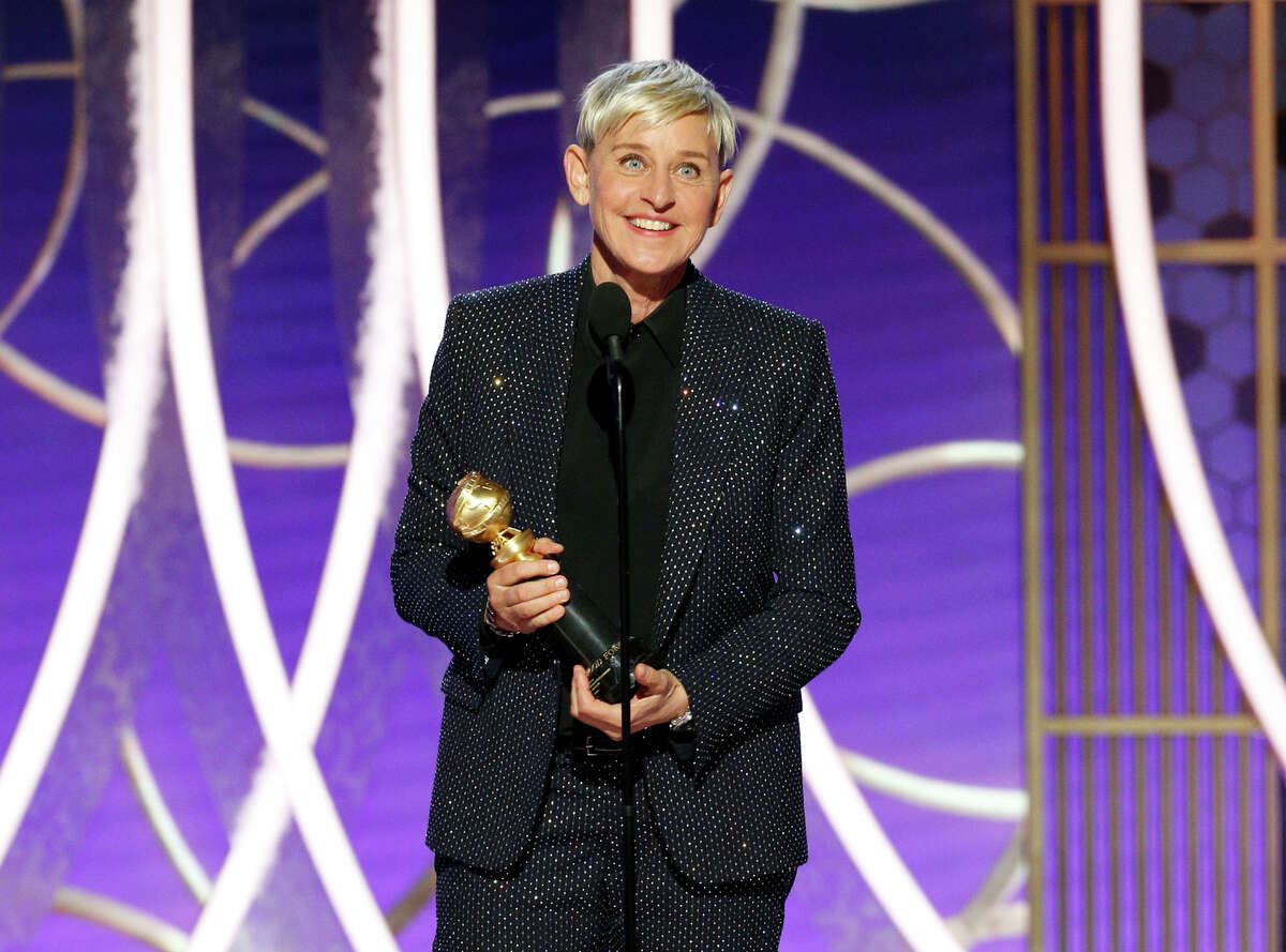 This image released by NBC shows Ellen DeGeneres accepts the Carol Burnett TV Achievement Award at the 77th Annual Golden Globe Awards at the Beverly Hilton Hotel in Beverly Hills, Calif., on Sunday, Jan. 5, 2020. (Paul Drinkwater/NBC via AP)