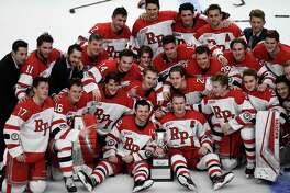 Rensselaer Polytechnic Institute celebrates after winning 2-1 shoot-out against Union during the men's Mayor's Cup college hockey game Saturday, Jan. 25, 2020, in Albany, N.Y. (Hans Pennink / Special to the Times Union) ORG XMIT: 012620_Men_HP127