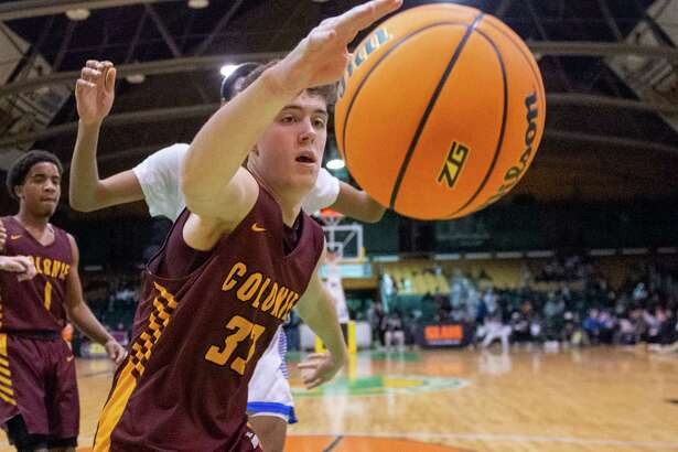 Colonie junior Sean Espey grabs a rebound during the Slam North South Classic High School Basketball Tournament against LaSalle at the Washington Avenue Armory in Albany NY on Saturday, Jan. 25, 2019 (Jim Franco/Special to the Times Union.)