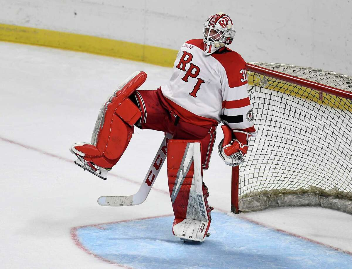 Rensselaer Polytechnic Institute goaltender Owen Savory (31 )celebrates after winning 2-1 shoot-out against Union during the men's Mayor's Cup college hockey game Saturday, Jan. 25, 2020, in Albany, N.Y. (Hans Pennink / Special to the Times Union) ORG XMIT: 012620_Men_HP128