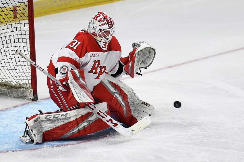 Rensselaer Polytechnic Institute goaltender Owen Savory (31) makes a save against Union during the second period of the men's Mayor's Cup college hockey game Saturday, Jan. 25, 2020, in Albany, N.Y. (Hans Pennink / Special to the Times Union) ORG XMIT: 012620_Men_HP135