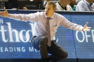 Rice Owls head coach Scott Pera reacts during the second half of an NCAA men's college basketball game at Tudor Fieldhouse Thursday, Jan. 9, 2020, in Houston. Rice lost to Florida Atlantic Owls 81-76.