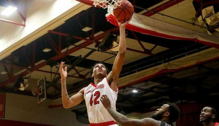 SIUE forward Shamar Wright goes up for a basket during Saturday's game against UT Martin. Photo: SIUE Athletics