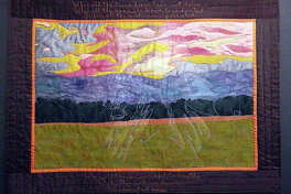 """The pair will showcase their quilt (pictured), """"You Cannot Eat Money."""""""