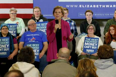 Democratic presidential candidate Sen. Elizabeth Warren, D-Mass., speaks during a town hall meeting Saturday, Jan. 25, 2020, in Muscatine, Iowa. (AP Photo/Sue Ogrocki)