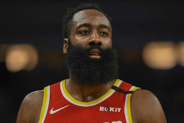 Houston Rockets guard James Harden during a break in action against the Minnesota Timberwolves during the second half of an NBA basketball game Friday, Jan. 24, 2020, in Minneapolis. The Rockets won 131-124.(AP Photo/Craig Lassig)