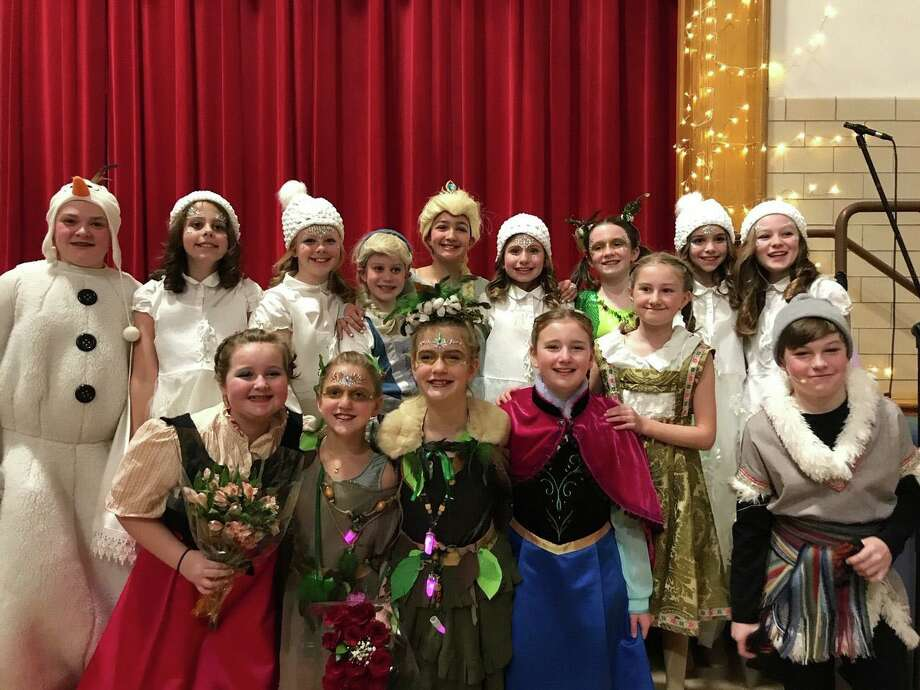 "The cast of ""Frozen"" the musical, put on by Riverside School, pose after their show, which was over the weekend of Jan. 17-18. Photo: Contributed"
