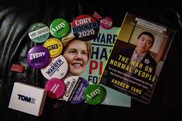 Tanya Keith's collection of Democratic buttons, pins, posters and books.