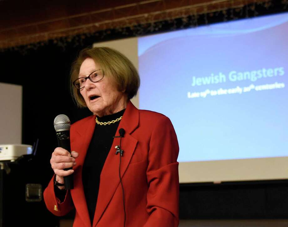 "Anne Peskin presents stories of legendary Jewish gangsters at the Jewish Community Center in Stamford, Conn. Sunday, Jan. 26, 2020. Peskin, a professor at The City College of New York, told stories of Meyer Lansky and Louis ""Lepke"" Buchalter from the late-19th to early-20th century. Photo: Tyler Sizemore / Hearst Connecticut Media / Greenwich Time"