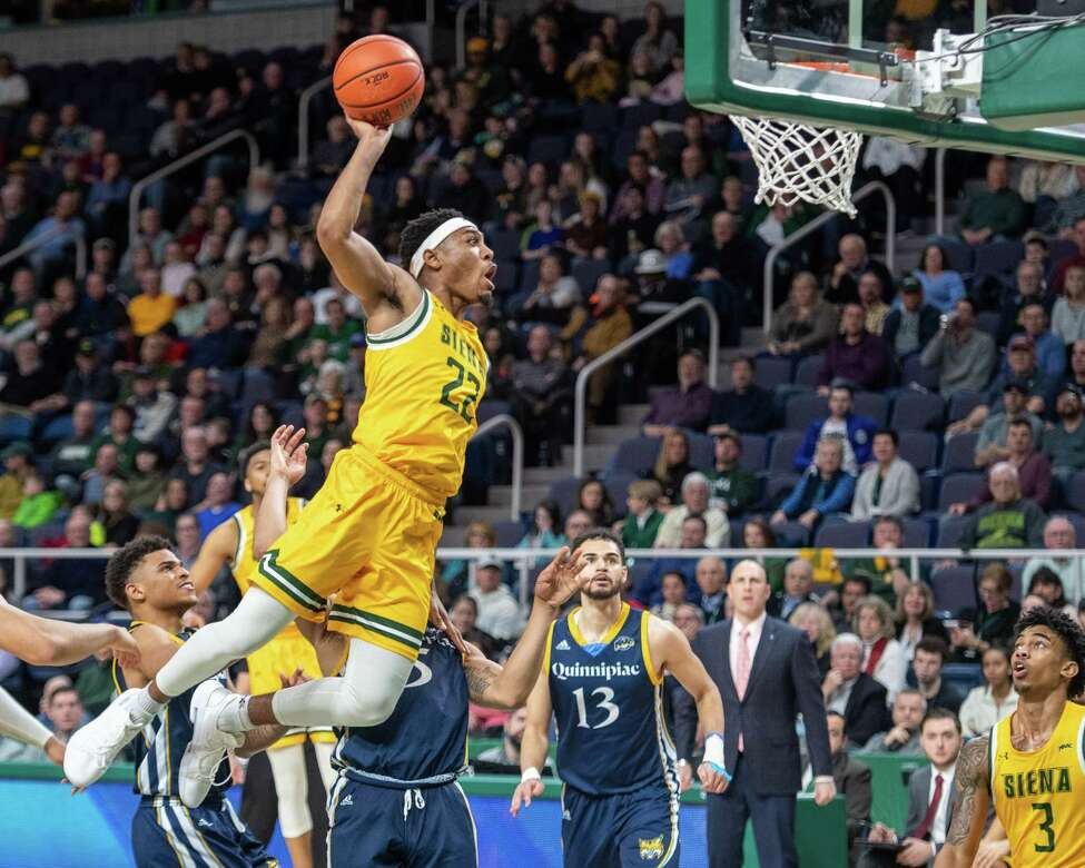 Siena sophomore Jalen Pickett takes drives to the basket against Quinnipiac at the Times Union Center in Albany NY on Sunday, Jan. 26, 2019 (Jim Franco/Special to the Times Union.)