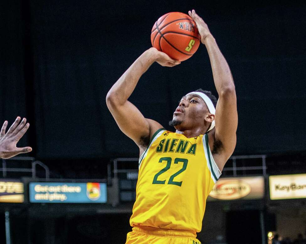 Siena sophomore Jalen Pickett takes a jumper against Quinnipiac at the Times Union Center in Albany NY on Sunday, Jan. 26, 2019 (Jim Franco/Special to the Times Union.)