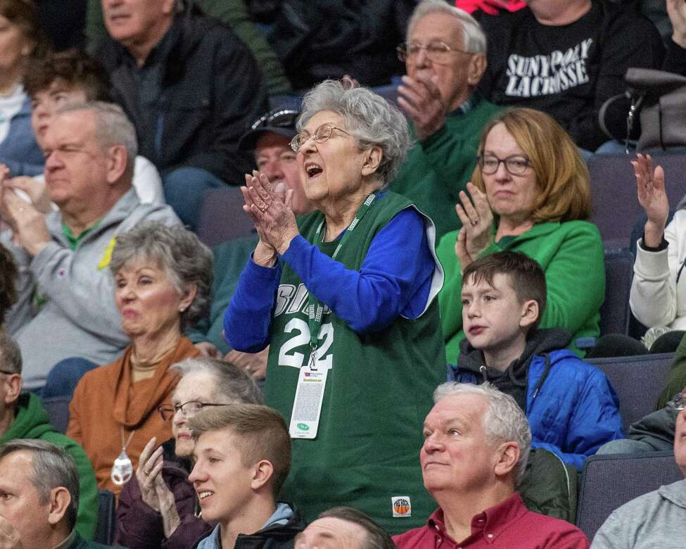 Siena College fans root for the home team against Quinnipiac at the Times Union Center in Albany NY on Sunday, Jan. 26, 2019 (Jim Franco/Special to the Times Union.)