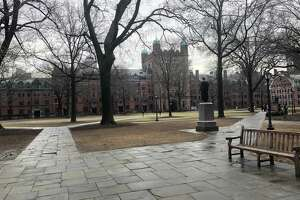 Old Campus at Yale University, New Haven, seen from the northwest, near High Street. Phelps Gate is at center; Connecticut Hall is at right.