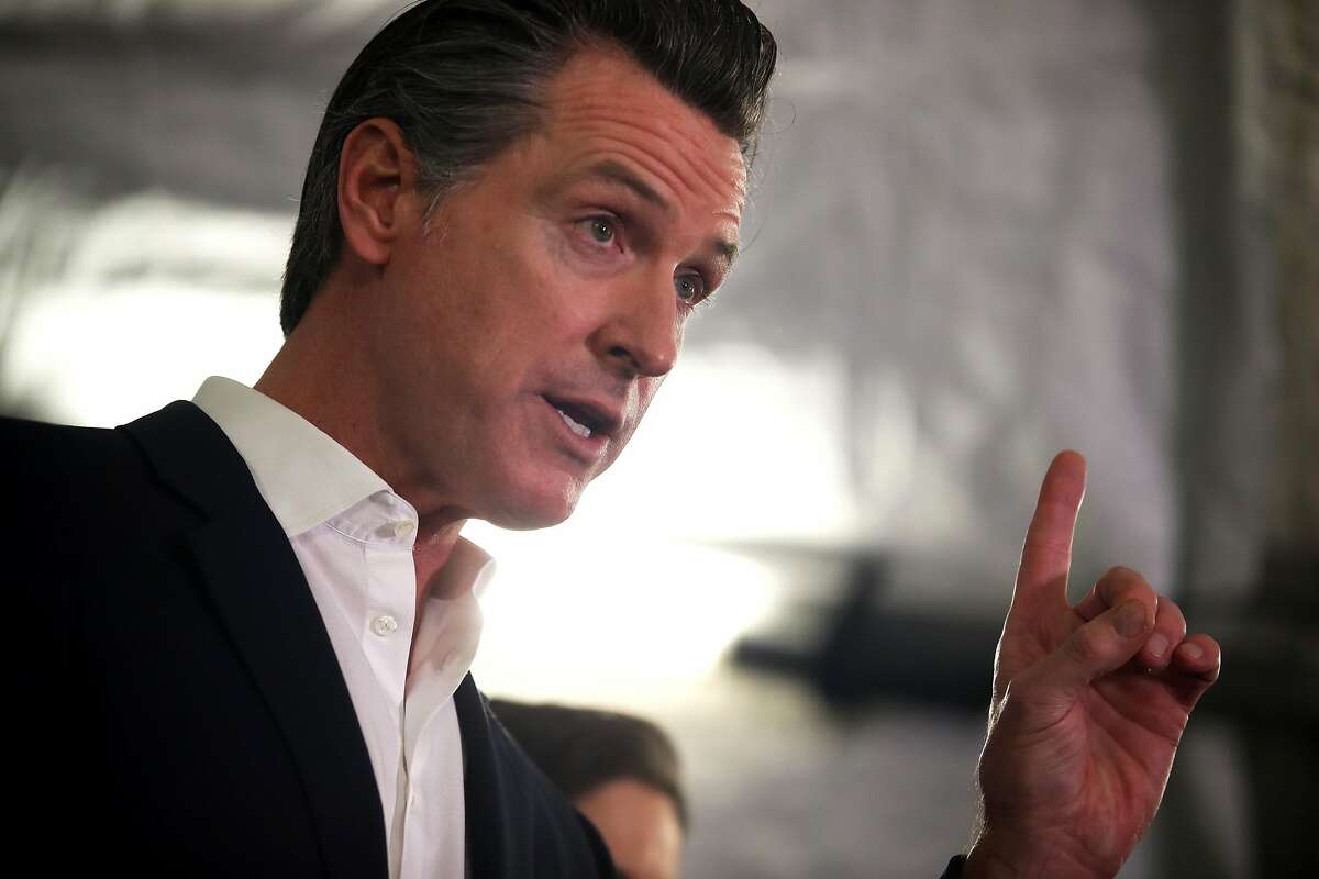 California Gov. Gavin Newsom speaks during a a news conference about the state's efforts on the homelessness crisis on Jan. 16, 2020, in Oakland.