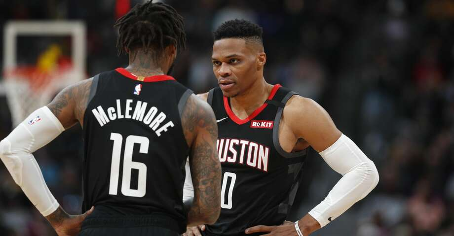 Houston Rockets guard Ben McLemore (16) confers with guard Russell Westbrook in the first half of an NBA basketball game against the Denver Nuggets, Sunday, Jan. 26, 2020, in Denver. (AP Photo/David Zalubowski) Photo: David Zalubowski/Associated Press
