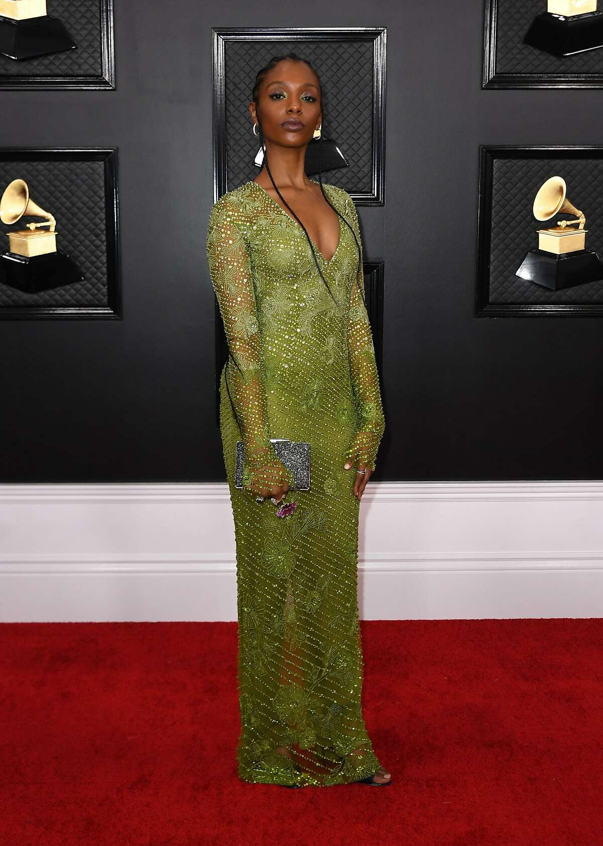 US singer-songwriter Mereba arrives for the 62nd Annual Grammy Awards on January 26, 2020, in Los Angeles. (Photo by VALERIE MACON / AFP) (Photo by VALERIE MACON/AFP via Getty Images)