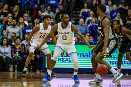 Bridgeport's Quincy McKnight (0) a senior at Seton Hall, wasrecently named as a candidate for Naismith Defensive Player of the Year.