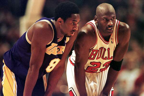 Kobe Bryant, left, was playing his second NBA season, while Michael Jordan was in the midst of his sixth championship campaign when the Lakers met the Bulls in Chicago in December 1997.